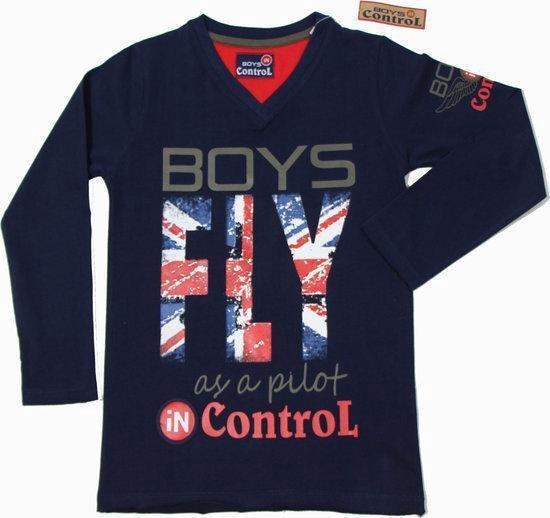 Boys In Control Jongensshirt - Navy - Maat 92