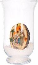 Kerst woondecoratie vaas met heilig beeldje
