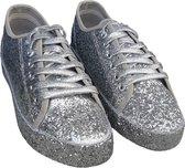 Zilveren glitter disco sneakers/schoenen voor dames 41