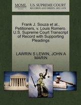 Frank J. Souza Et Al., Petitioners, V. Louis Romero. U.S. Supreme Court Transcript of Record with Supporting Pleadings