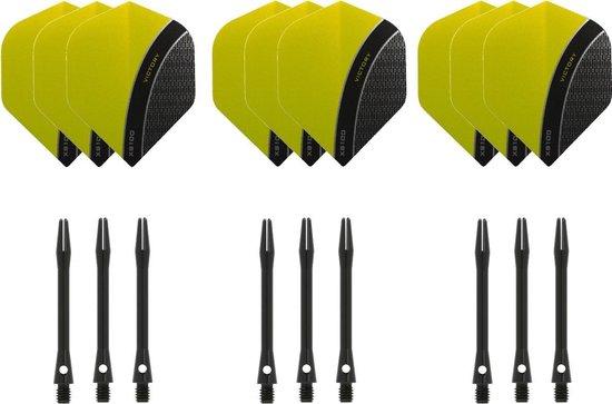 Dragon darts - 3 sets - XS100 Curve - Geel - Darts flights - plus 3 sets - aluminium - darts shafts - zwart - medium