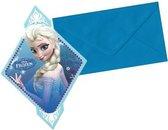 Frozen ruitvormige uitnodigingen met Elsa inclusief enveloppen (6 stuks)