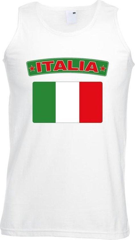 Singlet shirt/ tanktop Italiaanse vlag wit heren 2XL