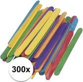 300 gekleurde ijsstokjes knutselhoutjes 5,5 cm - knutselstokjes