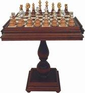 Luxe schaakset - XL houten met goud en zilver gedecoreerde schaakstukken + Beek wood houten schaaktafel Albaster - 60 x 60 x 70 cm
