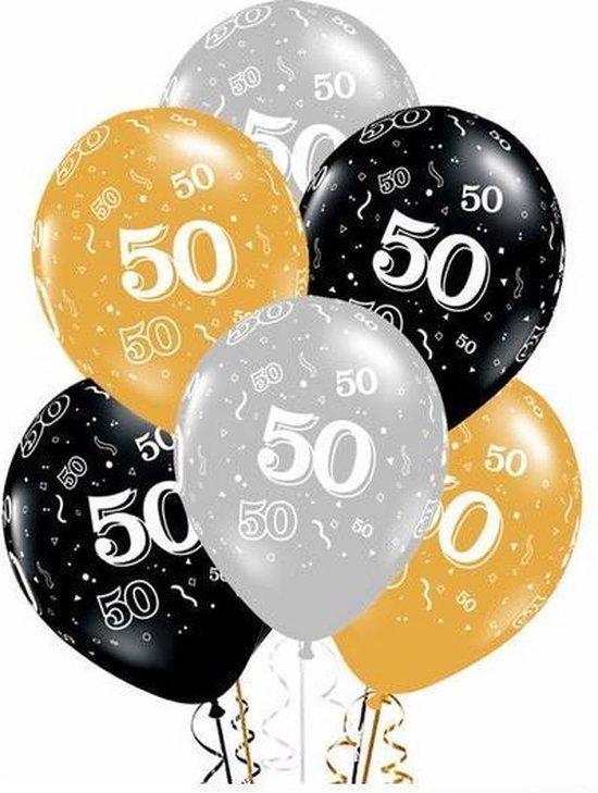 20 stuks ballonnen 50 jaar zilver - goud - zwart