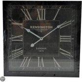 Kensington - Klok - Vierkant - Hout - 40x40 cm - Zwart