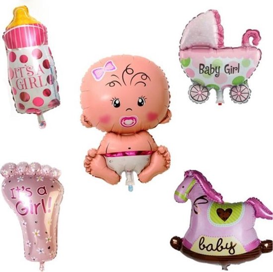 Ballonnen 5 stuks Newborn meisje
