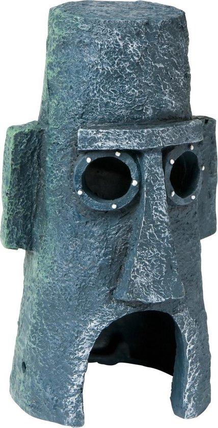 Ornament Moai Huis Octo - Grijs - Aquariumdecoratie - 15,5 x 10 cm