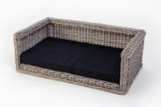 Topmast Rieten Hondenbank 115x78 cm + Polyesther kussen zwart
