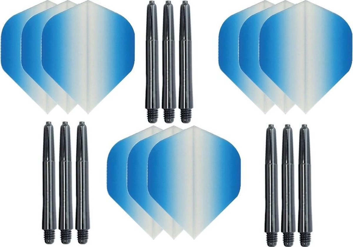 3 sets (9 stuks) Super Sterke - Dragon darts - Fade Side Blauw - darts flights - plus 9 extra zwarte - darts shafts