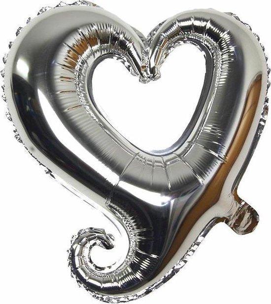 Folieballon Fantasie hart zilver 45 cm