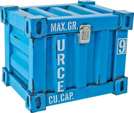 Blauwe Vintage container, deco 26 cm