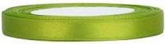 Satijn Lint, Appel Groen  6 mm Breed, 1 rol van 25 Meter