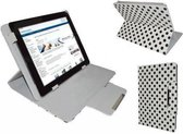 Polkadot Hoes  voor de Aoc Breeze Tablet Mw1031 3g, Diamond Class Cover met Multi-stand, Wit, merk i12Cover