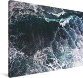 Luchtfoto van golven Canvas 140x90 cm - Foto print op Canvas schilderij (Wanddecoratie woonkamer / slaapkamer)