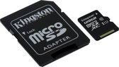 Kingston microSD kaart 128 GB + SD Adapter