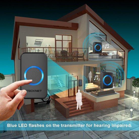 TeckNet Draadloze Deurbel met 2 Ontvangers op stroom - Plug&Play - Regelbaar Volume / Melodie / Oplichtende LED's