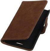 HTC One E8 - Hout Bruin Booktype Wallet Hoesje