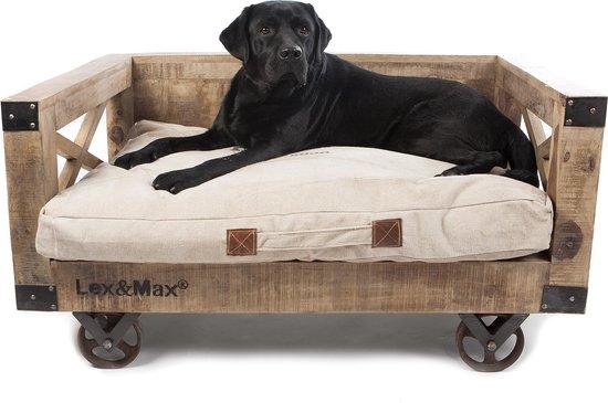 Lex & Max - Hondenbank hout op wielen - Bruin - 90 x 65 cm - Excl. kussen