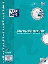 Oxford School - Ringbandpapier - A4 - Geruit 10 mm - met kantlijn - 23 gaats - 100 vel - pak van 5