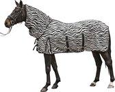 Vliegendeken met hals -Zebra- met buikflap wit/zwart 185