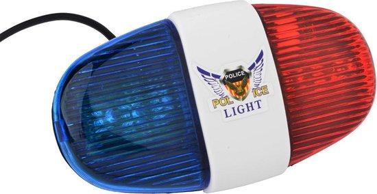 Luide Politie Fiets Sirene Met Zwaailicht - Fietstoeter Alarm Met LED Verlichting