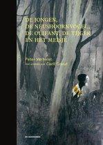 Boekomslag van 'De jongen, de neushoornvogel, de olifant, de tijger en het meisje'