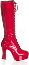 Pleaser Kniehoge laarzen -38 Shoes- US 8 Rood