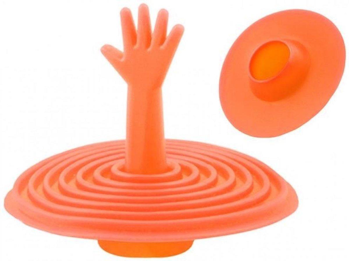 Grappige siliconen gootsteen stop - Oranje - handje