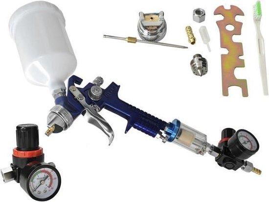 ISOT Verfpistool HVLP - Compressor spuitpistool met bovenbeker - Incl. accessoires