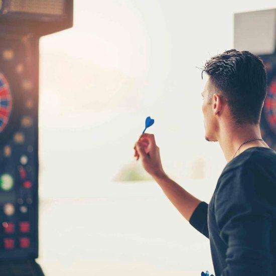 Thumbnail van een extra afbeelding van het spel #DoYourDart - 3x Soft Dartpijlen - »BlueStripes« -  incl. case voor opslag + 6x PET Dart flights - perfecte grip, ijzeren barrel | Aluminium shaft gewicht dart: 17.9g  - zilver