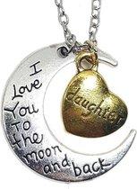 Ketting maan hanger met hart voor dochter of moeder