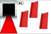 4x Rode loper polyester 60 x 450 cm