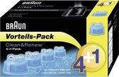 Braun Clean & Renew - Reiniging voor scheerapparaat - Blauw - 5 stuks