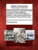 Boek cover Hints to Emigrants van Thomas Hulme