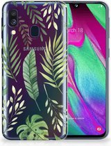 TPU Siliconen Hoesje Samsung Galaxy A40 Back Cover Leaves