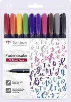 Tombow Brush Pen Fudenosuke  Colour 10er-Set + 1 x  Tombow Fudenosuke Dubbelzijdige  Brush Pen - Zwart en Grijs verpakt in een Handige Zipperbag