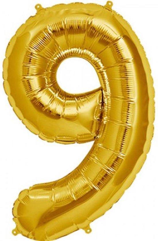 Cijfer 9 Goud lucht 41cm