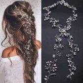 Haar Parels - Parelkoord - Gala en bruiloft haarmode - Bruids Haar Haarschuifje - 50 cm - 1 stuks - Parelmoer