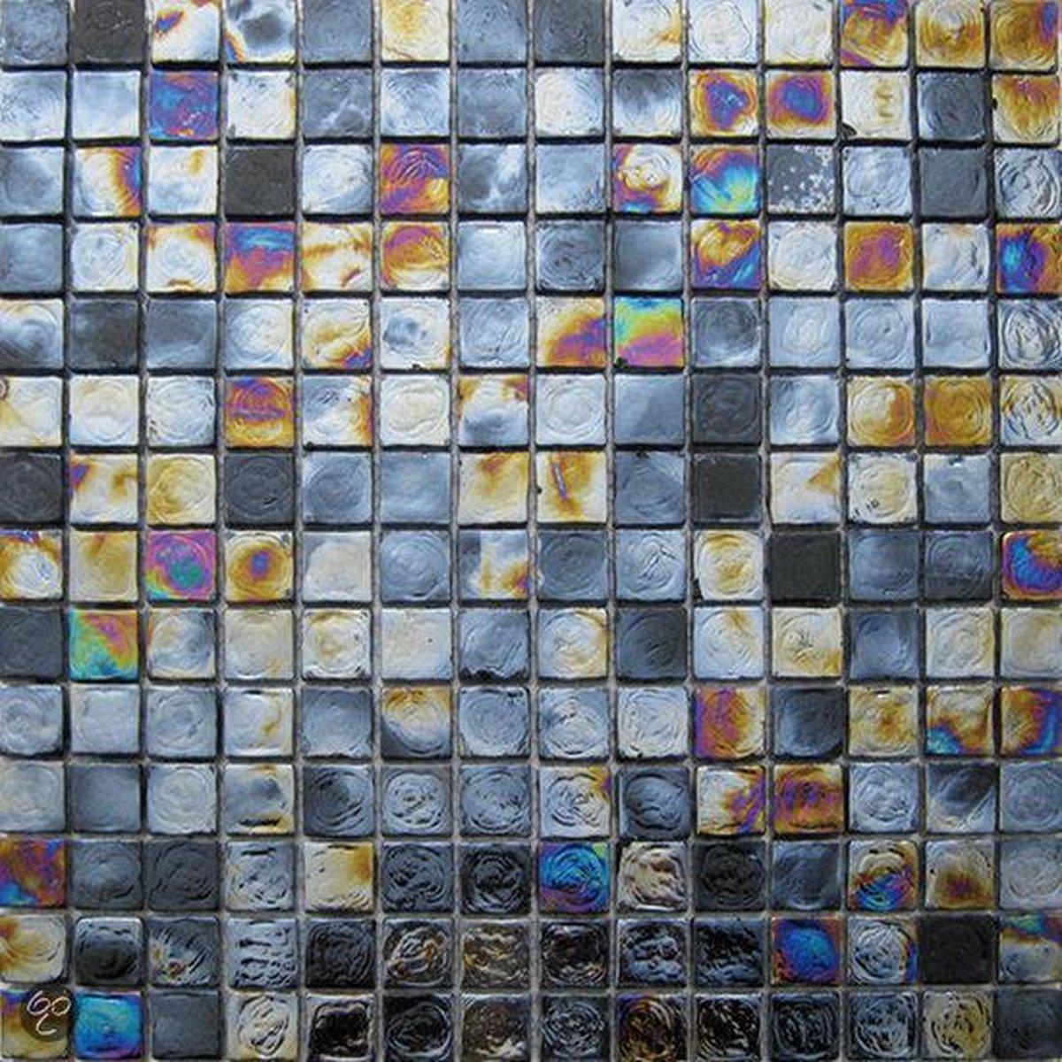 Alfa Mosaico Mozaiek Grandeza olie effect glas 1,9x1,9x0,8 cm -  Olie Prijs per 1 matje. - Merkloos