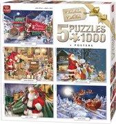 King 5 in 1 Puzzel 1000 Stukjes (68 x 49 cm) - Kerstpuzzel Collectie - Vijf Legpuzzels met Voorbeeldposters