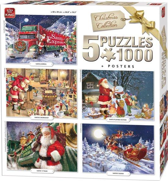 Afbeelding van King 5 in 1 Puzzel 1000 Stukjes (68 x 49 cm) - Kerstpuzzel Collectie - Vijf Legpuzzels met Voorbeeldposters