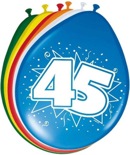 8x stuks Ballonnen versiering 45 jaar