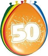 8x stuks Ballonnen versiering 50 jaar thema feestartikelen en leeftijd versiering - formaat 30 cm