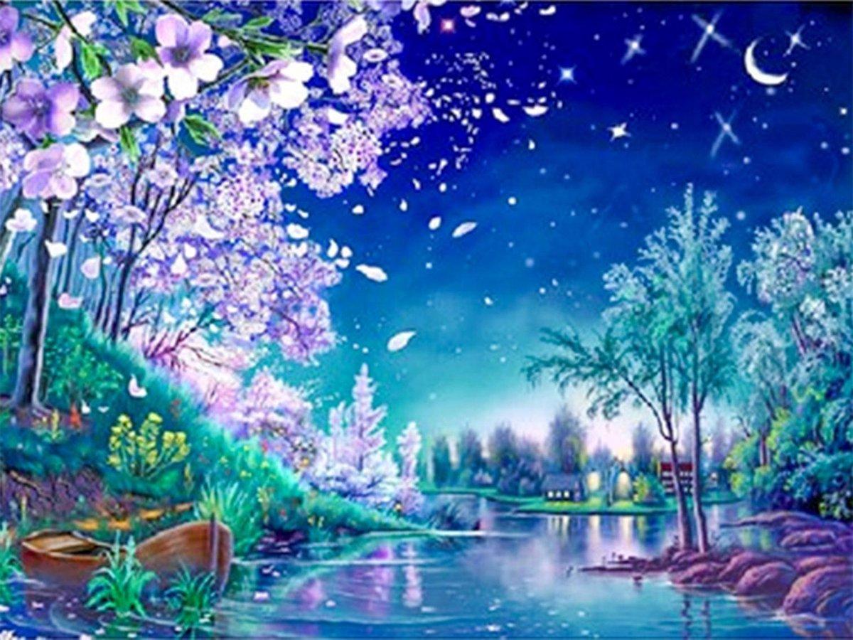 SEOS Shop ® Diamond Painting Pakket Gekleurde Nachtelijke scene - Volledig - Diamond Paintings - 40x30 cm