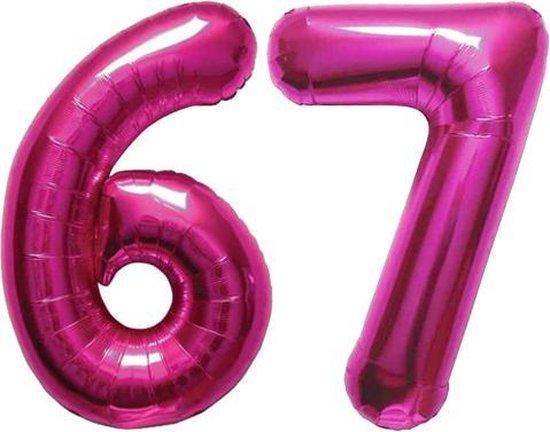 Cijfer 67 Magenta Helium 86 cm Excl. helium