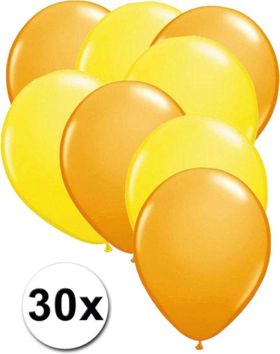 Ballonnen Oranje & Geel 30 stuks 27 cm