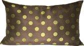 Kussen Long Green Dot - sierkussen - stip - bruin - zijde - 65x40
