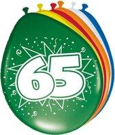 8x stuks Ballonnen versiering 65 jaar